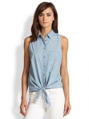 Equipment - Mina Tie-Front Sleeveless Chambray Shirt at Saks Fifth Avenue