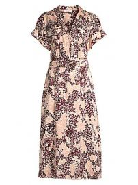 Equipment - Orlena Floral  amp  Leopard Print Silk-Blend A-Line Shirtdress at Saks Fifth Avenue