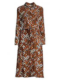Equipment - Relle Graphic Plaid Silk Midi Shirtdress at Saks Fifth Avenue