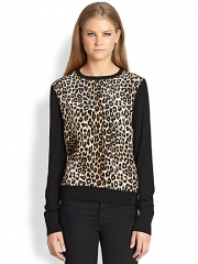 Equipment - Roland Wool and Silk SweaterLeopard at Saks Fifth Avenue