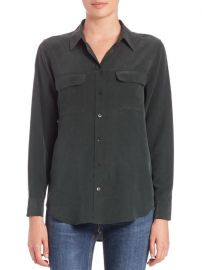 Equipment - Signature Silk Shirt in Scarab at Saks Fifth Avenue