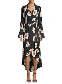 Equipment - Silk High-Low Wrap Dress at Saks Off 5th