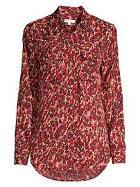 Equipment - Slim-Fit Signature Leopard-Print Blouse at Saks Fifth Avenue