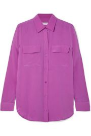 Equipment - Slim Signature washed-silk shirt at Net A Porter