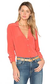 Equipment Adalyn Button Up in Cranberry from Revolve com at Revolve