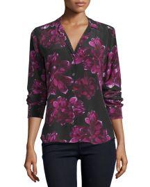 Equipment Adalyn Long-Sleeve Floral-Print Silk Shirt  True Black Hollyhock at Neiman Marcus