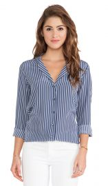 Equipment Adalyn Menswear Stripe Blouse in Crown Blue Multi  REVOLVE at Revolve