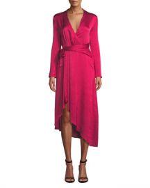 Equipment Adisa Long-Sleeve Wrap Satin Dress at Neiman Marcus