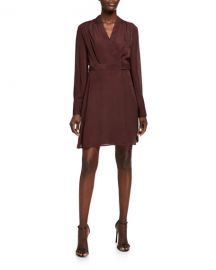 Equipment Allaire Long-Sleeve Wrap Dress at Neiman Marcus