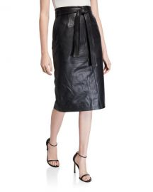 Equipment Alouetta Belted Leather Pencil Skirt at Neiman Marcus