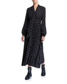 Equipment Amirin Polka Dot Tie-Neck Long-Sleeve Pleated Skirt Dress at Neiman Marcus