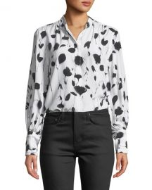 Equipment Boleyn Button-Front Floral-Print Blouse at Neiman Marcus