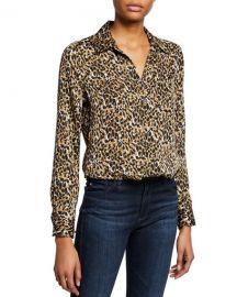 Equipment Brett Leopard-Print Button-Down Shirt at Neiman Marcus