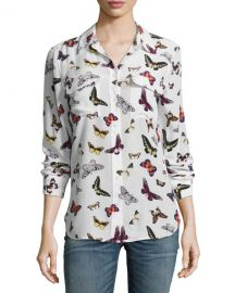 Equipment Butterfly Print Blouse at Neiman Marcus