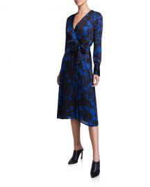 Equipment Cherylene Floral Long-Sleeve Midi Wrap Dress at Neiman Marcus
