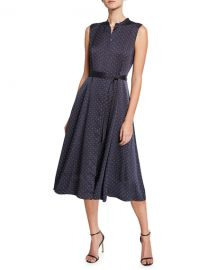Equipment Clevete Polka-Dot Sleeveless Button-Front Dress at Neiman Marcus