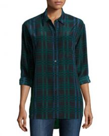 Equipment Daddy Long-Sleeve Plaid Blouse Ink Multi at Neiman Marcus