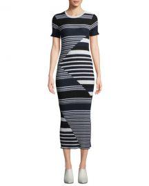 Equipment Dewey Short-Sleeve Multi-Striped Merino Wool Sweaterdress at Neiman Marcus
