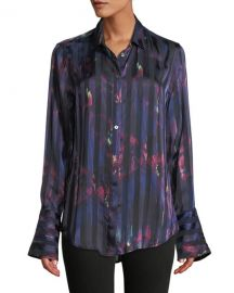 Equipment Eleonore Button-Front Abstract Striped Silk-Viscose Blouse at Neiman Marcus
