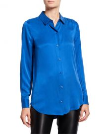 Equipment Essential Button-Down Long-Sleeve Silk Blouse at Neiman Marcus
