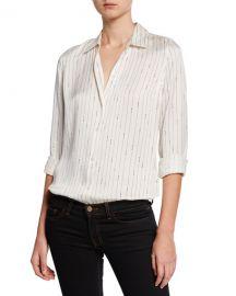 Equipment Essential Striped Button-Down Silk Shirt at Neiman Marcus