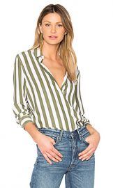Equipment Essential Striped Button Up in Bright White  amp  Four Leaf Clover from Revolve com at Revolve