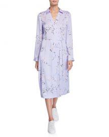 Equipment Fabienne Leaf-Print Long-Sleeve Midi Dress at Neiman Marcus