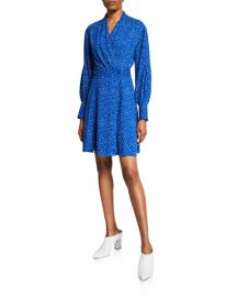 Equipment Fanetta Dotted Long-Sleeve Dress at Neiman Marcus
