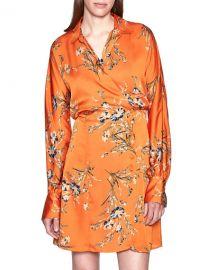 Equipment Harmon Floral Long-Sleeve Wrap Dress at Neiman Marcus