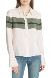 Equipment Huntley Stripe Block Silk Blouse at Nordstrom
