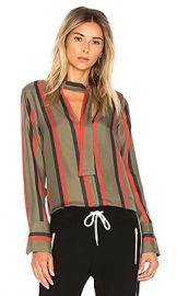 Equipment Janelle Stripe Blouse in Herbal Green from Revolve com at Revolve