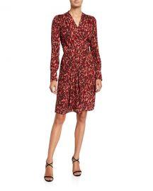 Equipment Jenesse Printed V-Neck Long-Sleeve Dress at Neiman Marcus