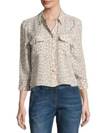Equipment Leopard-Print 3 4-Sleeve Cropped Slim Signature Silk at Neiman Marcus