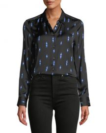 Equipment Lighting-Bolt Print Button-Front Essential Shirt at Neiman Marcus