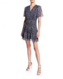 Equipment Lisle Printed V-Neck Short-Sleeve Dress at Neiman Marcus