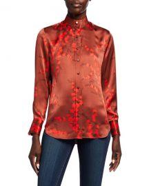 Equipment Maisa Floral Button-Down Silk Blouse at Neiman Marcus