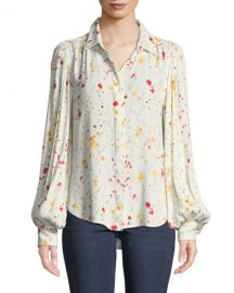 Equipment Marcilly Button-Front Floral-Print Blouse at Neiman Marcus
