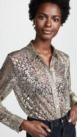 Equipment Metallic Leopard Lace Essential Button Down Shirt at Shopbop
