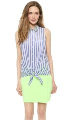 Equipment Mina Tie Front Blouse with Contrast Collar at Shopbop
