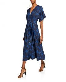 Equipment Nauman A-line Floral Midi Dress at Neiman Marcus