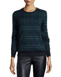 Equipment Ondine Long-Sleeve Plaid Sweater Ink Multi at Neiman Marcus