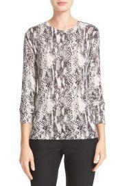 Equipment Ondine Zip Shoulder Print Silk   Cashmere Sweater in Ivory Black at Nordstrom