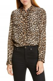 Equipment Signature Leopard Print Silk Blend Blouse   Nordstrom at Nordstrom