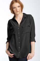 Equipment Signature Silk Shirt in black at Nordstrom