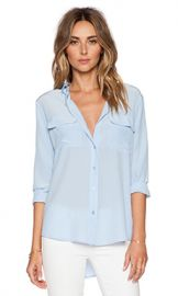 Equipment Slim Signature Blouse in Periwinkle Blue from Revolve com at Revolve