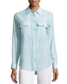 Equipment Slim Signature Dusty Blue Blouse at Last Call