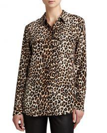 Equipment Slim Signature Leopard-Print Blouse at Neiman Marcus