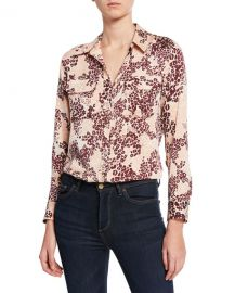 Equipment Slim Signature Leopard-Print Button-Down Shirt at Neiman Marcus