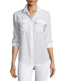 Equipment Slim Signature Long-Sleeve Shirt  Bright White at Neiman Marcus