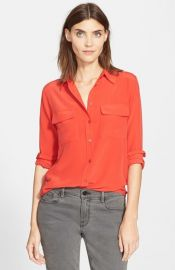 Equipment Slim Signature Silk Shirt in Cherry Red at Nordstrom
